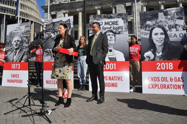 Jacinda Ardern accepts Greenpeace petition ahead of announcing the ban on awarding new oil and gas exploration permits