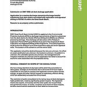 Greenpeace submission on OMV's application for marine discharge