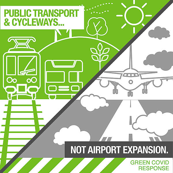 The Covid coronavirus economic stimulus infrastructure package must build public transport and cycleways, not airport expansion