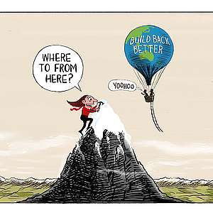 """Cartoon showing Jacinda Ardern reaching the top of the highest mountain (referencing her recent political win) and then asking """"where to from here""""? A little higher is a hot air balloon which is painted like the Earth and carrying the name """"Build Back Better"""" and has a rope ladder swinging towards Ardern on her snowy mountain peak."""