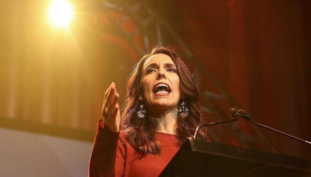 Jacinda Ardern claiming victory on election night 2020