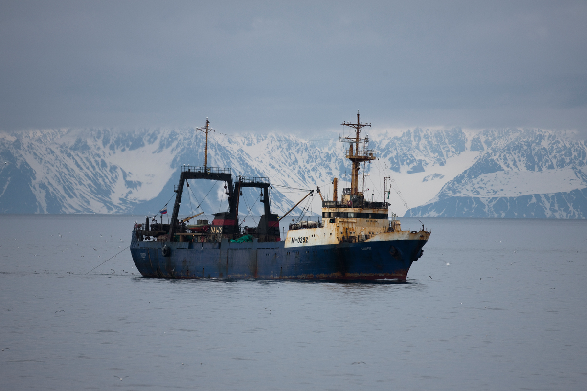 The Russian flagged vessel Konotop spotted trawling in the Arctic Ocean at 79o23.2'N 008o26.5'E Registered number M0292. IMO number7832347. As climate change causes the Arctic sea ice to recede, the Greenpeace ship Esperanza has sailed north of Svalbard, to survey the poorly understood Arctic Ocean sea bed. Meanwhile on the surface the crew are tracking and documenting fishing vessels from an industry that is encroaching on this fragile, unstudied ecosystem. Greenpeace is calling for the area of the Arctic Ocean historically protected year round by sea ice to be closed to all industrial activity, including destructive fishing.