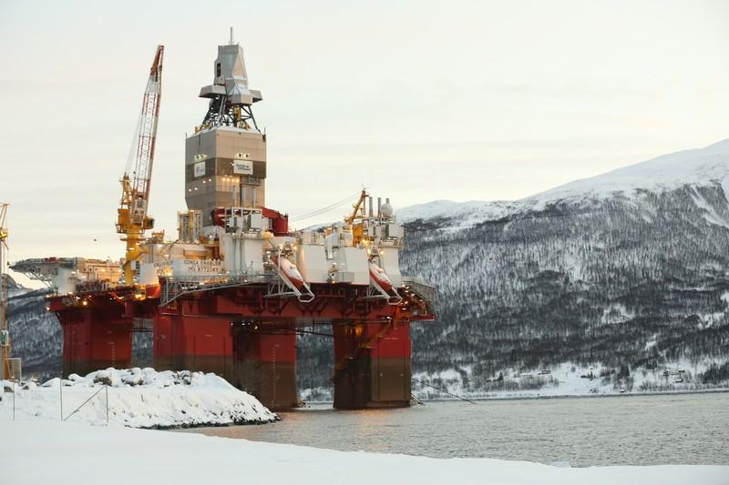 Bilde av boreriggen Songa Enabler som skal bore etter olje for Statoil i Barentshavet i sommer