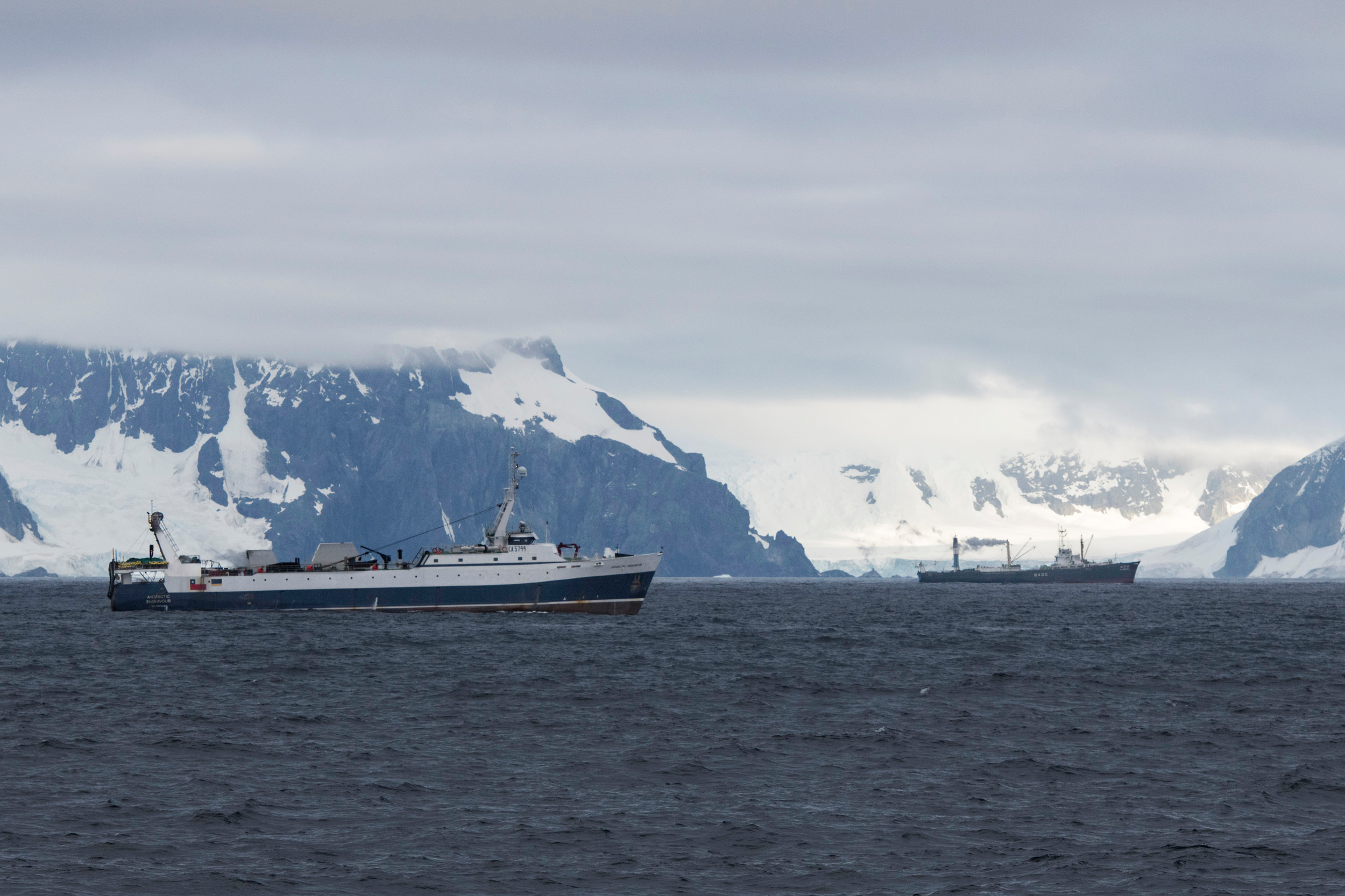 February 27th, 2018. Antarctic Peninsula, Greenpeace expedition to promote the formation of an Antarctic protected area with the MY Arctic Sunrise.Krill fishing vessels in the vicinity of Trinity Island.Photo by Daniel Beltrá for Greenpeace