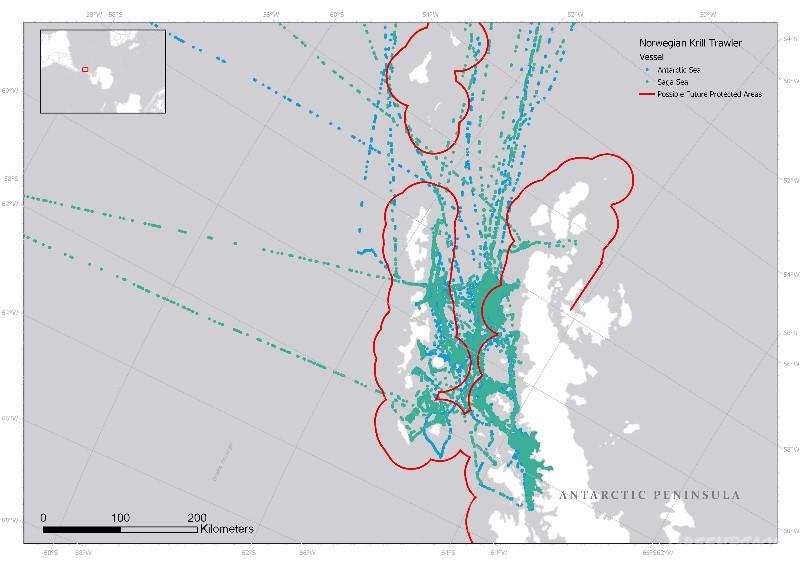 Kartet viser hvor Aker sine krill-båter fisker
