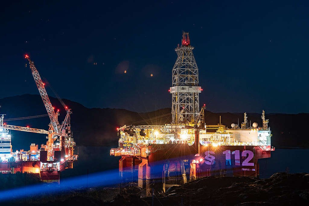 The People vs Arctic Oil - Oil rig Projection in Norway. © Jason White / Greenpeace