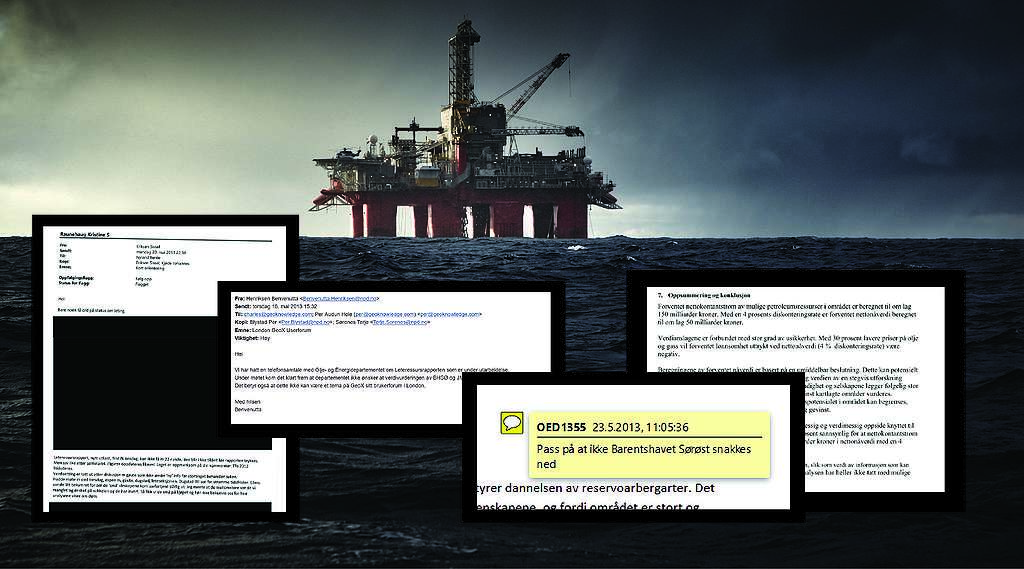 A collage showing a dim oil rig with facsimiles about the secret oil notes underneath it.