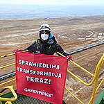 Action at the Turow Open Pit Mine in Poland. © Max Zielinski / Greenpeace