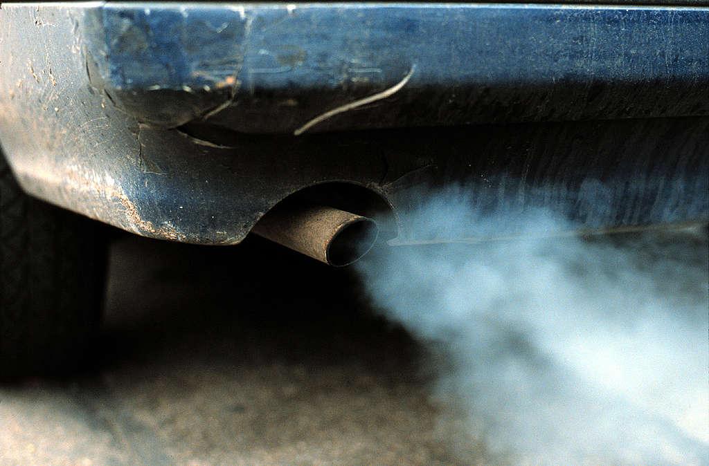 Car exhaust fumes, London. © Greenpeace / Maggie Gowan