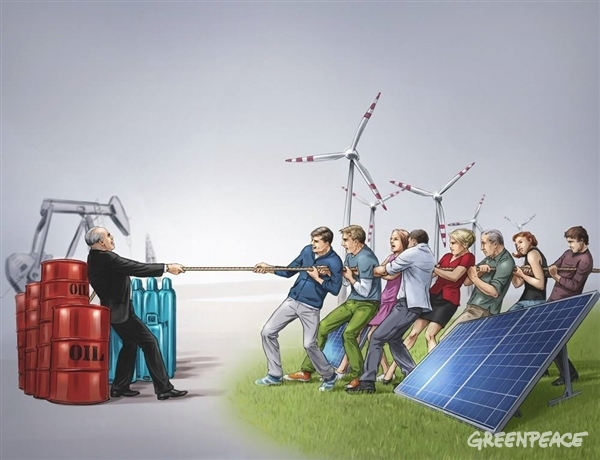"""Vlečenje """"energetske"""" vrvi. (c) Greenpeace."""