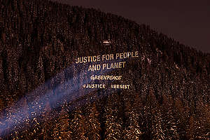 Greenpeace Justice Activity at the World Economic Forum in Davos. © Greenpeace / Lumina Obscura
