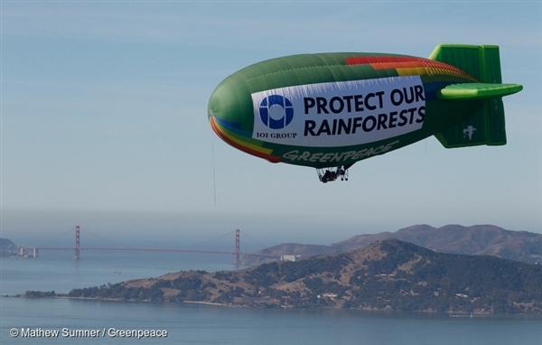 The Greenpeace thermal airship A.E. Bates flies over the San Francisco Bay area near a facility where palm oil trader IOI imports its palm oil in the San Francisco Bay area.