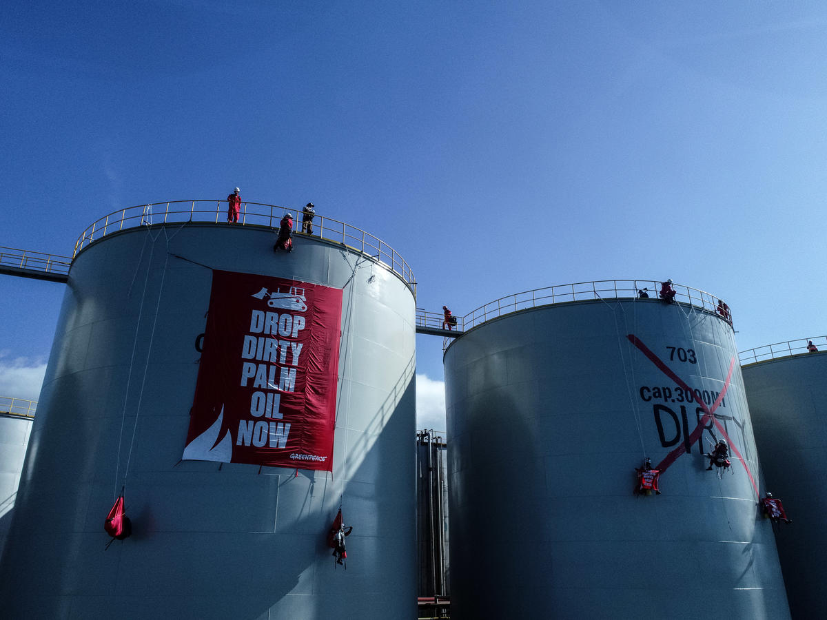 Direct Action at Wilmar Refinery in North Sulawesi. © Nugroho Adi Putera / Greenpeace