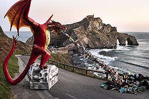Plastic-Spitting Dragon at San Juan de Gaztelugatxe. © Pedro Armestre / Greenpeace