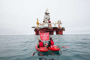 Arctic Sunrise Protests Arctic Oil Drilling in Barents Sea. © Nick Cobbing / Greenpeace
