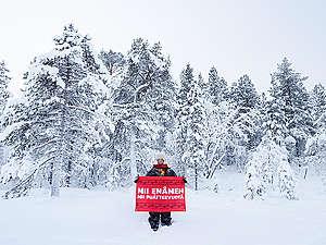 Sámi Reindeer Herders Oppose Railroad Construction in Finland. © Jani Sipilä / Greenpeace
