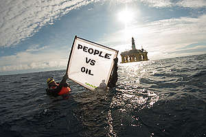 Action against Shell's Oil Rig in the Pacific Ocean. © Greenpeace / Keri Coles