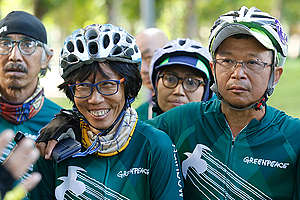 Bike for 100 Percent Renewable Energy - Kick Off in Bangkok. © Tadchakorn Kitchaiphon / Greenpeace