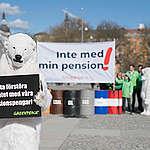 Greenpeace manifestation mot fossila investeringar bland AP-fonder