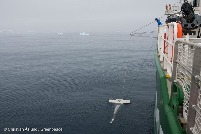 Hope Bay, Antarctic.Microplastic sampling in Antarctic waters from aboard the Arctic Sunrise. Sandra Schoettner, marine biologist and oceans campaigner with Greenpeace Germany and crew deploying the so-called manta trawl – a net specifically designed for skimming small particles from the sea surface whilst being towed alongside the ship. Greenpeace has already performed this kind of sampling in many other marine environments, including very remote as well as highly impacted places.