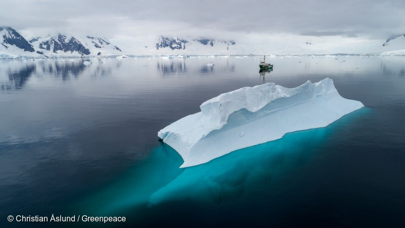 Greenpeace ship the Arctic Sunrise in Charlotte Bay, Antarctic Peninsula. Greenpeace is on a three-month expedition to the Antarctic to carry out scientific research, including seafloor submarine dives and sampling for plastic pollution, to highlight the urgent need for the creation of a 1.8 million square kilometre Antarctic Ocean Sanctuary to safeguard species like whales and penguins.