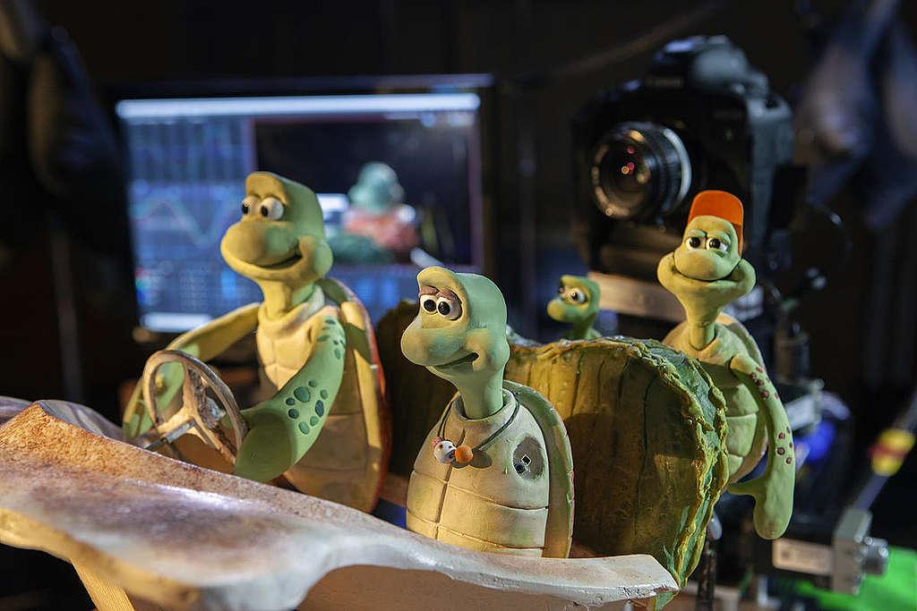 海龜玩偶特寫,真實世界的海龜也是如此可愛。