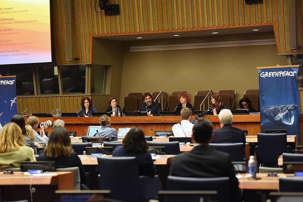 哈維爾巴登於聯合國會議呼籲各國政府拯救全球海洋,支持成立全球海洋公約。