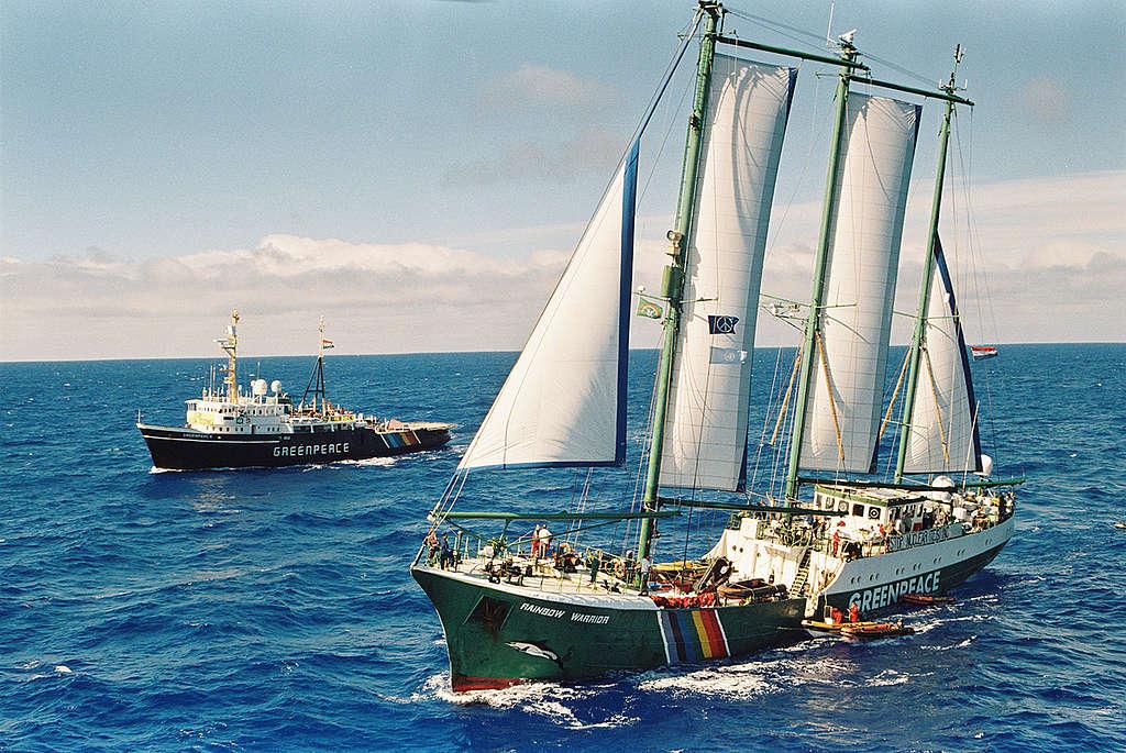 綠色和平船艦第二代「彩虹勇士號」,1995年載著行動者前往阻止法國核試爆。