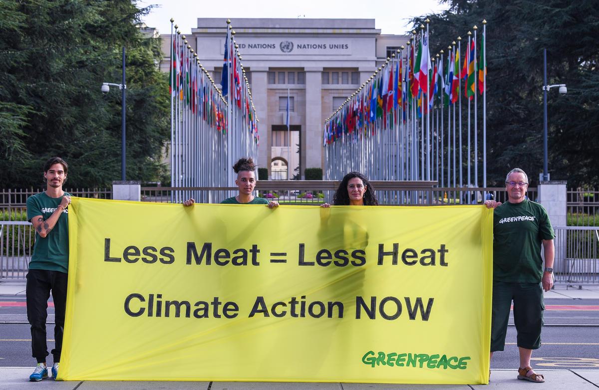 2019年綠色和行動者前往日內瓦,於聯合國政府間氣候變遷專門委員會(IPCC)會議場外,手持「少肉食=減暖化,立即為氣候行動」布條。