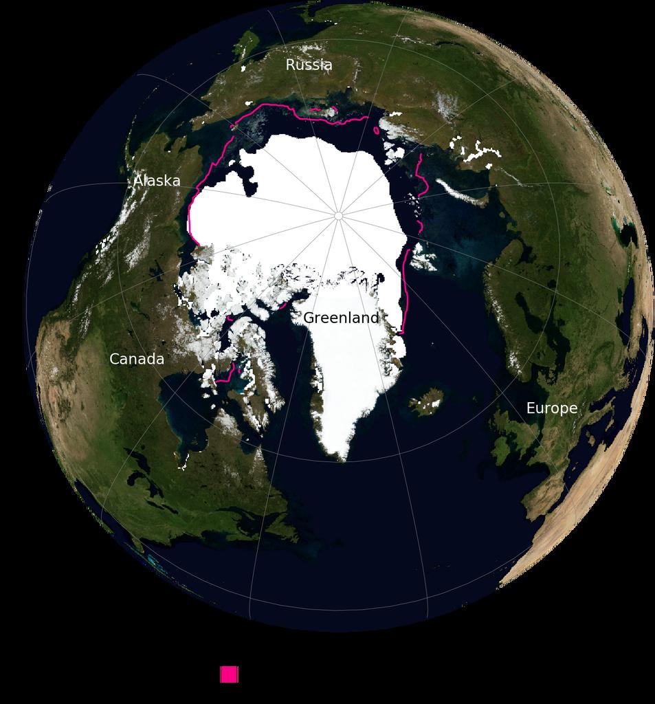 北極冰川消融現況,桃紅色虛線顯示的是1981-2010年間的冰川範圍,今年8月只剩下510萬平方公里。