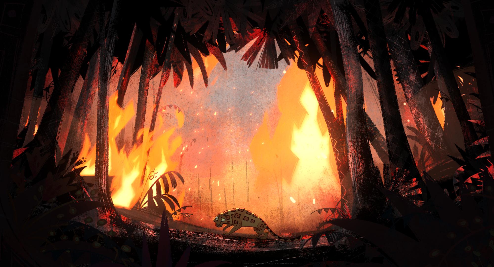 綠色和平為亞馬遜雨林大火製作動畫,講述美洲豹因人類焚燒森地,失去家園。