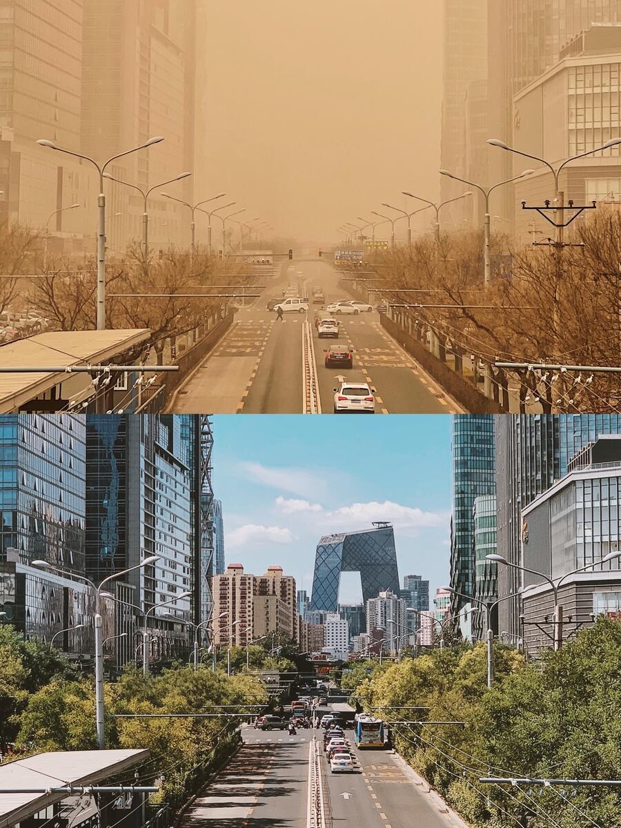 氣候變遷的影響無遠弗屆,3月中國北部出現「十年來最大沙塵暴」,令北京出現猶如末日的嚴重霾害,強勁風勢更將沙塵進一步散播影響日韓等地。© Chen Wenbo