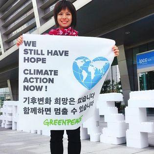 黃毓琪(Kelly)於韓國參與氣候行動,呼籲當局與大眾趁還來得及,正視氣候危機。