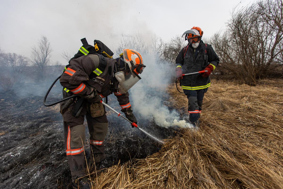 綠色和平籌備培訓「森林消防隊」,透過實地演習,讓團隊成員學習使用新的製圖、導航、無線通訊、滅火技術與設備,有助普及滅火知識。© Julia Petrenko / Greenpeace