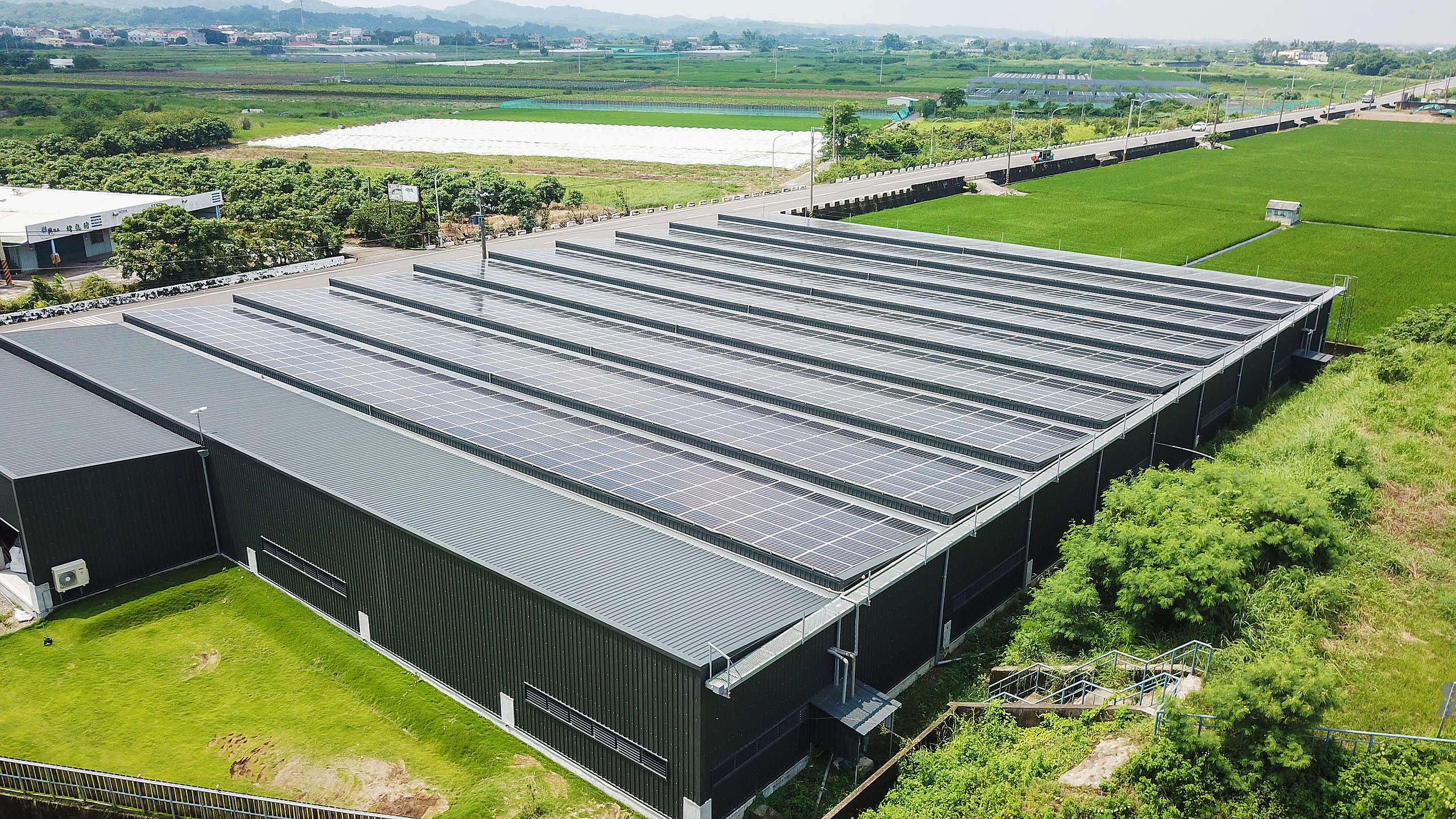 有些民間養殖業者,在養殖場上方搭建屋頂型太陽能光電設施,電力自發自用。© Greenpeace