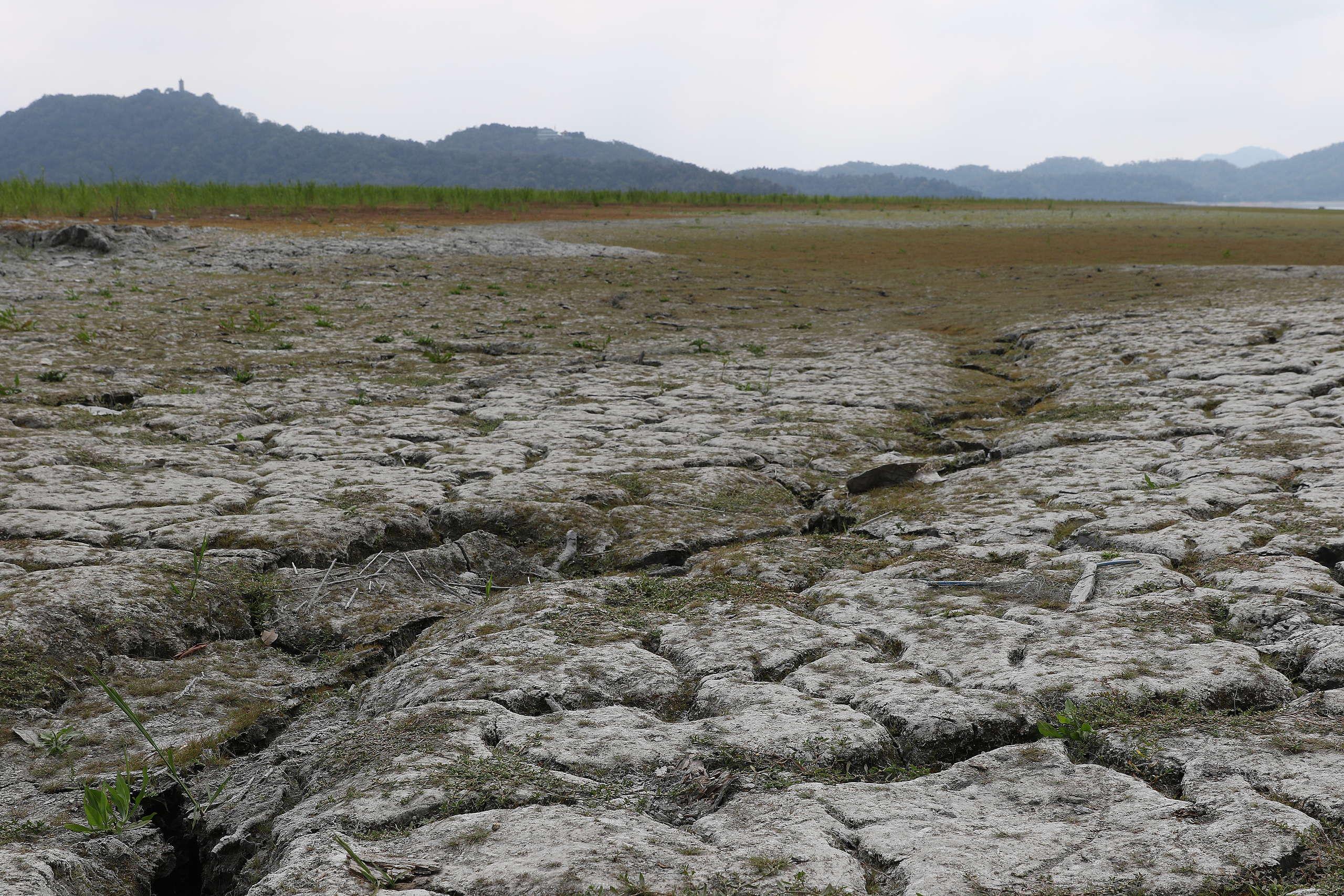 2021年上半年,臺灣經歷百年大旱,造成全臺停灌補助近新臺幣70億元,水情亮紅燈,也使臺中、苗栗等地自2021年4月起實施供五休二的停水措施。圖為連日缺水導致乾枯的日月潭。© Cynthia Chen / Greenpeace