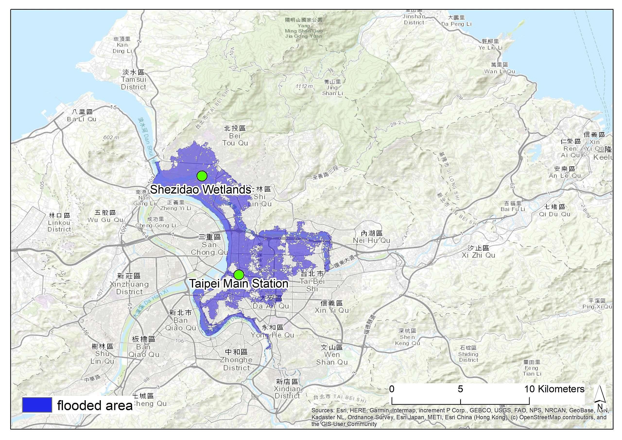 在RCP8.5的情境下,2030年海平面上升可能造成臺北被淹沒的地區。