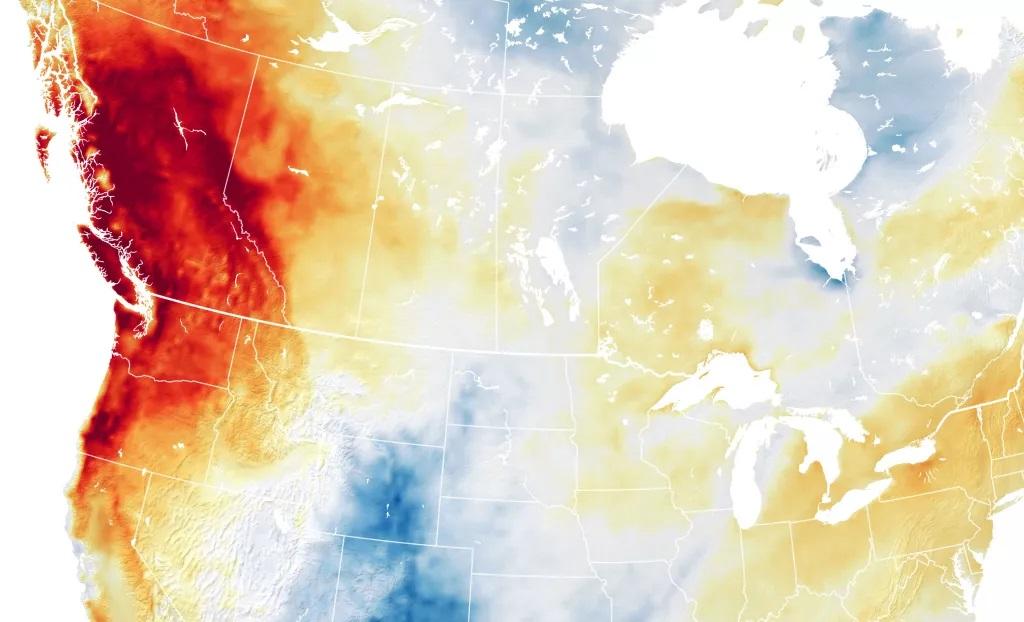 2021年6月底,北美出現高溫穹頂,氣溫竟高達攝氏49.5度,顯示氣候異常。