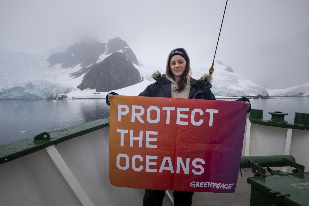 奧斯卡影后瑪莉詠‧柯蒂亞於2020年響應綠色和平「守護海洋」倡議,隨船艦來到南極見證海洋現況,並呼籲世人共同為《全球海洋公約》發聲。