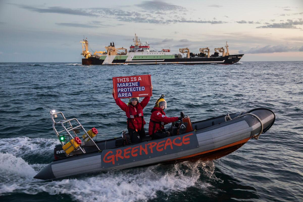 2021年9月,綠色和平行動者於直擊一艘巨型底拖網漁船竟出現在海洋保護區內,手舉「這裡是海洋保護區」布條,向政府倡議加強保障海洋力道。
