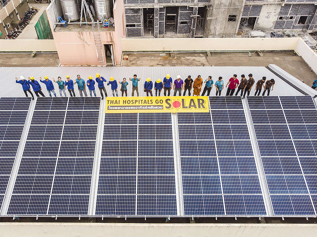 Solar Rooftop ที่โรงพยาบาลหลวงสวนในประเทศไทย. © Greenpeace