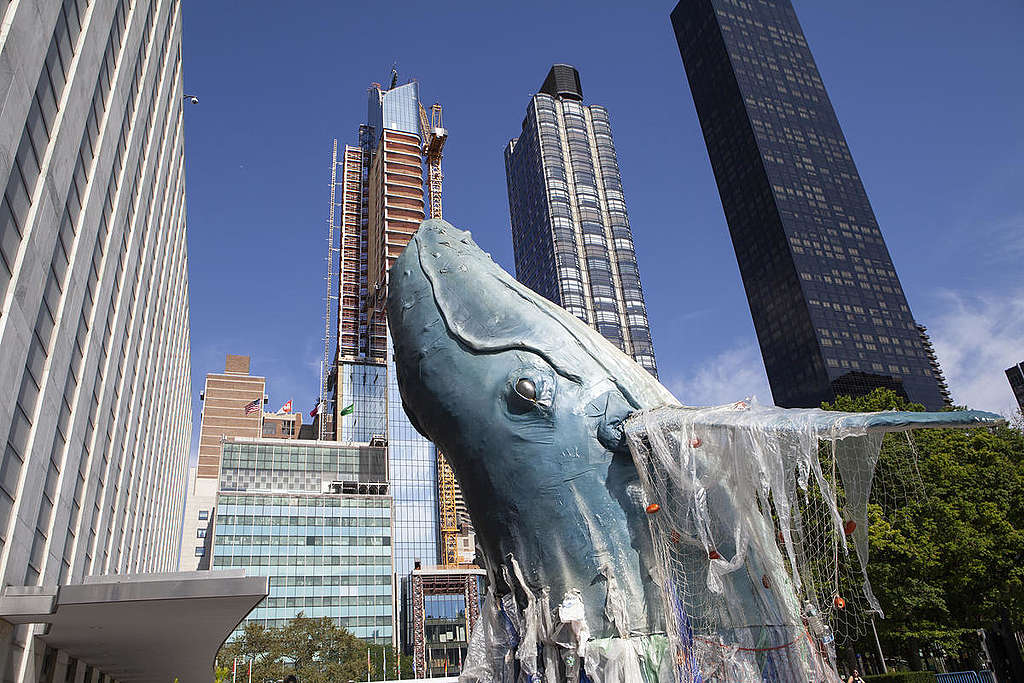 Ocean-Inspired Artwork at the United Nations in New York. © Greenpeace / Alex Yallop