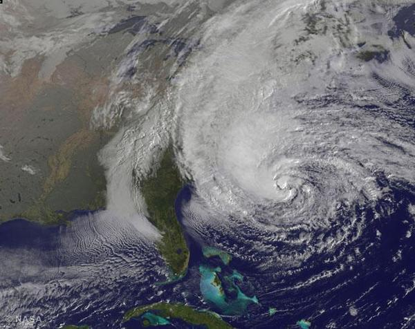 A satellite image provided by NASA of Hurricane Sandy, pictured at 11 a.m. EDT churns off the east coast as it moves north on October 28, 2012 in the Atlantic Ocean