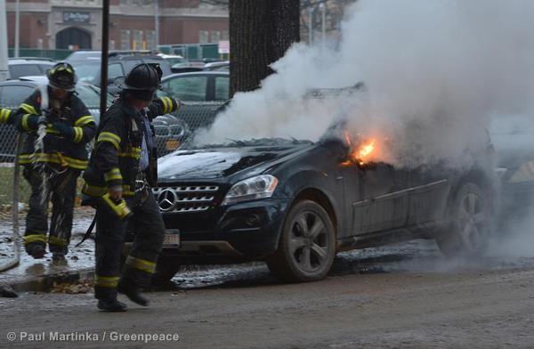 Car fire on Brighton Beach avenue & Ocean Parkway in Coney Island.