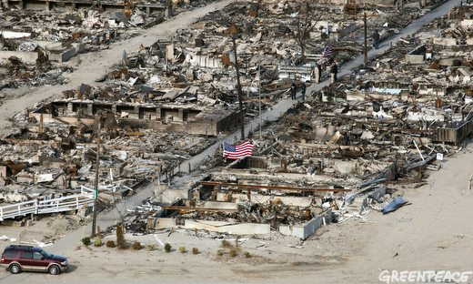A burned out section of the Breezy Point section of Queens, New York after Hurricane Sandy.