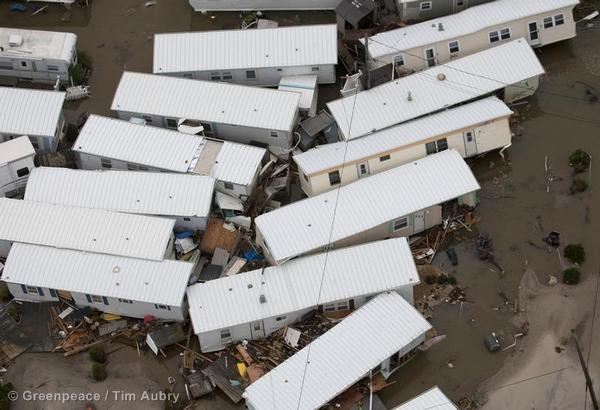 Trailer homes in Beach Haven pushed awry by the storm surge are shown in the aftermath of Hurricane Sandy on the New Jersey coast.