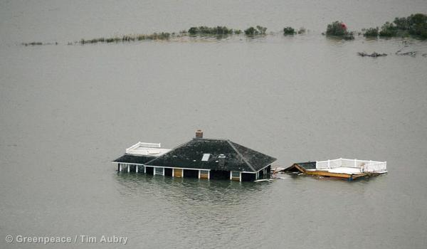 A building floats near the New Jersey shore in the aftermath of Hurricane Sandy.