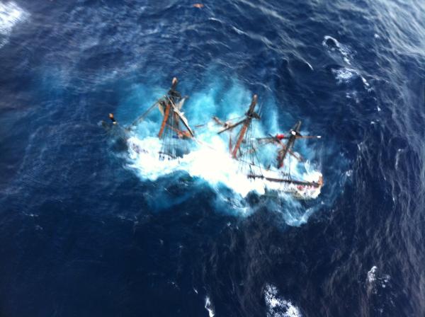 HMS Bounty sinks