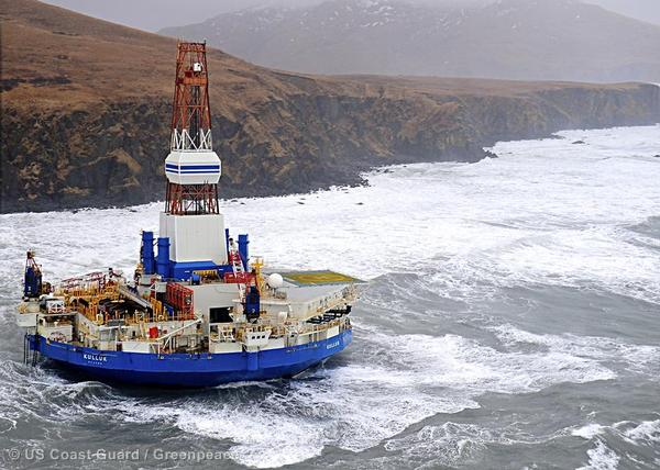 Shell's drilling unit, the Kulluk, ran aground en route from Alaska last winter.