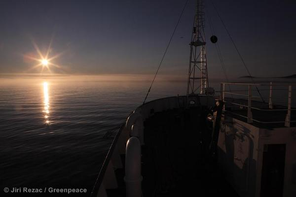 Sunset over the Bering Sea aboard Greenpeace's ship the Esperanza